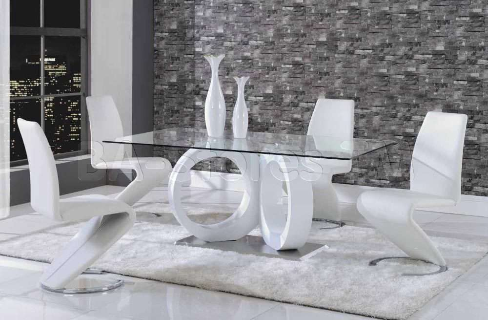 Contemporary White Dining Set Table Chairs Sets