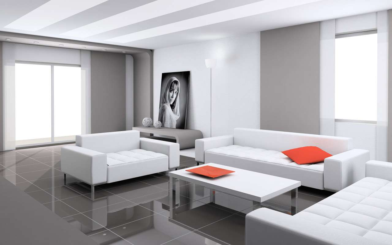Contemporary White Living Room Design Ideas