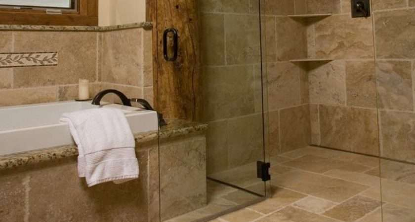 Continuous Floor Tile Rustic Shower Modern