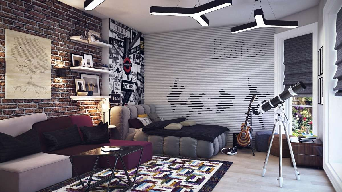 Cool Teenage Bedroom Ideas Boys Musically Inspired Jpeg