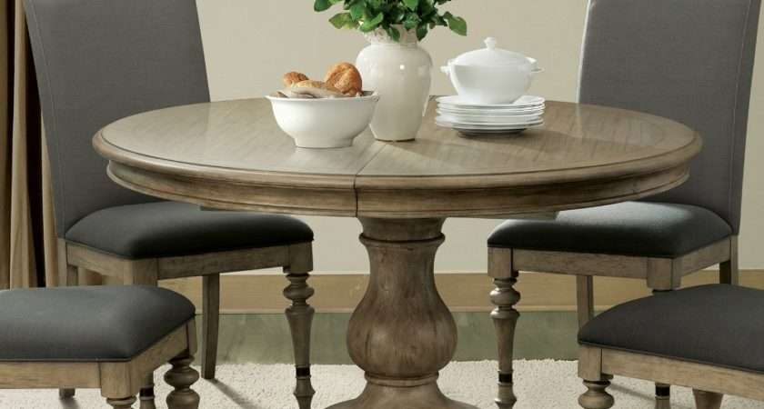 Corinne Wood Round Pedestal Dining Table Sun Drenched