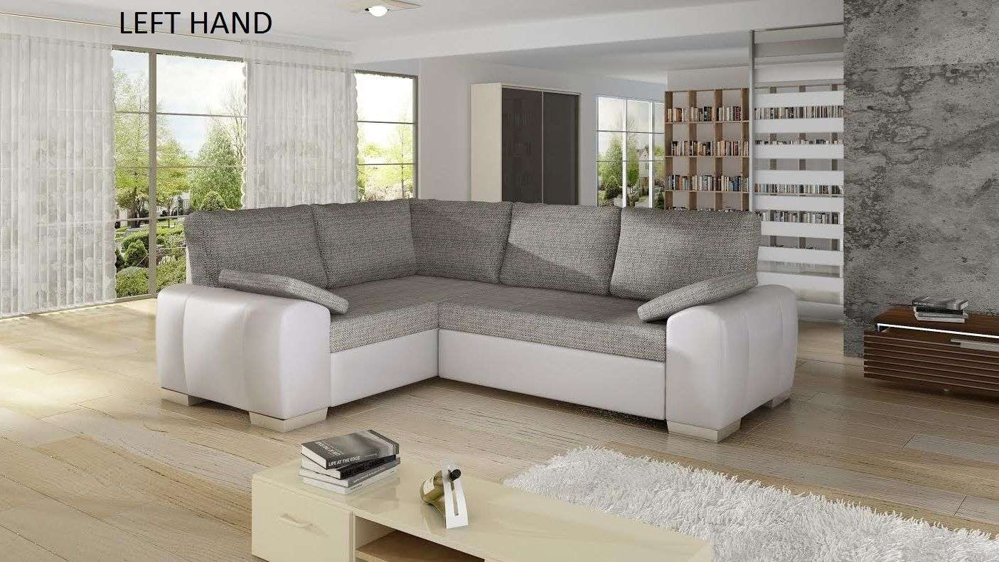 Corner Sofa Bed Leather Fabric White Grey Massa Sofas Less