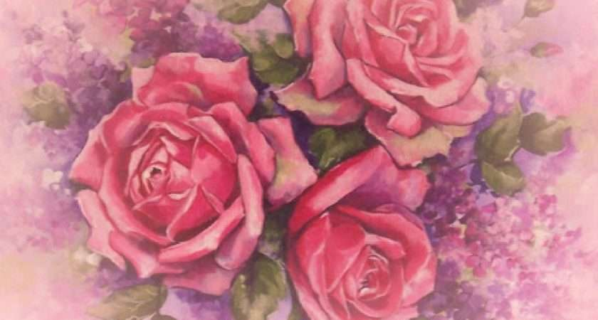Cottage Chic Shabby Pink Rose Painting Canvas Print