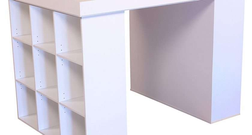 Counter Height Craft Table Open Bin Cabinets
