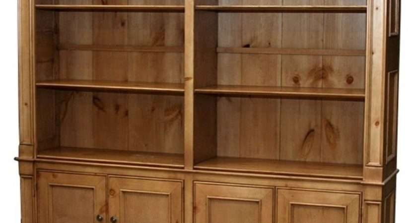 Country Double Wide Bookcase Shelves English Pine