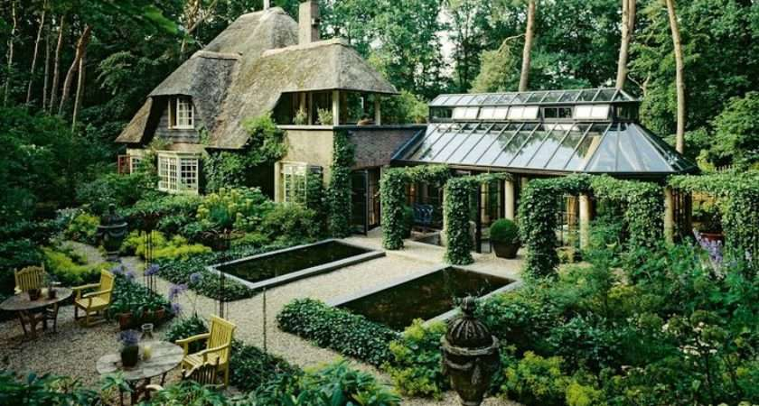 Country Home Homes Pinterest Thatched Roof Green Garden