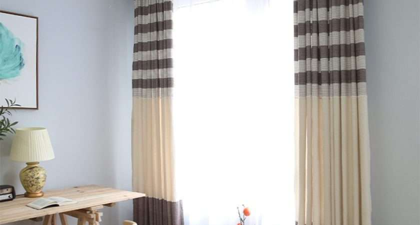 Country Style Stripe Linen Blackout Window Curtains