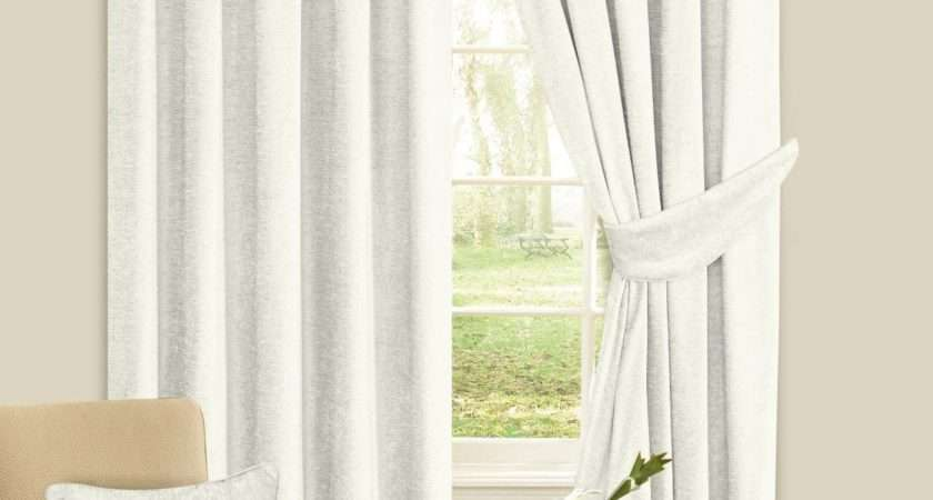Cream Colour Plain Chenille Fabric Pencil Pleat Fully