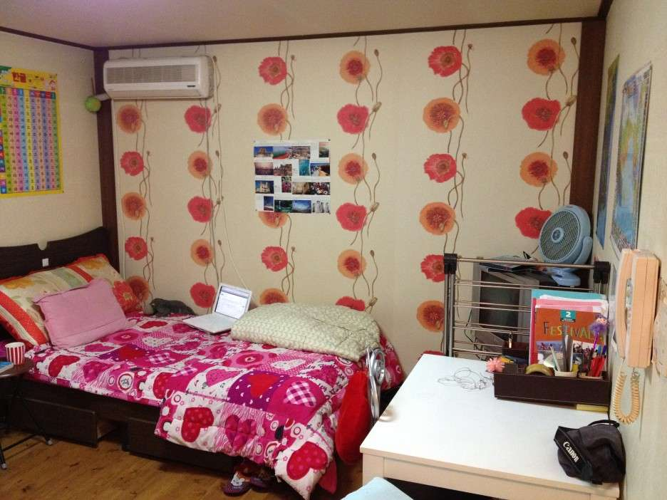 Cream Feat Floral Motive Wall Bedroom Ideas Young Adults Pink