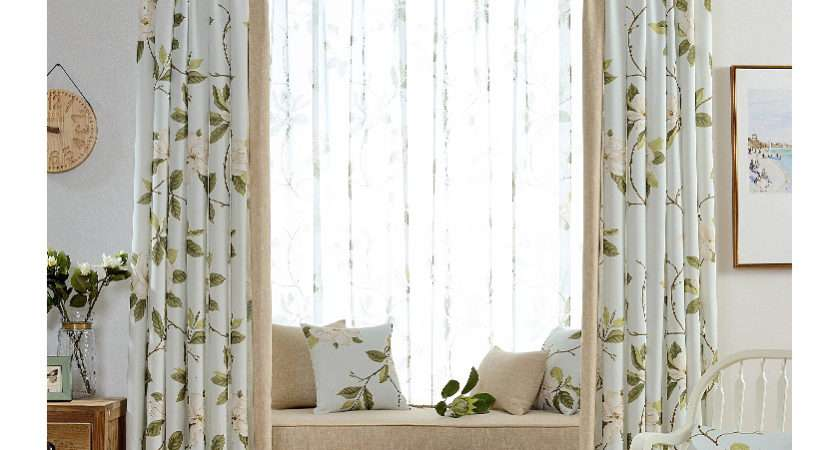 Cream Floral Print Linen Cotton Blend Country Living Room