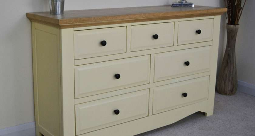Cream Painted Wood Oak Drawer Multi Chest Drawers