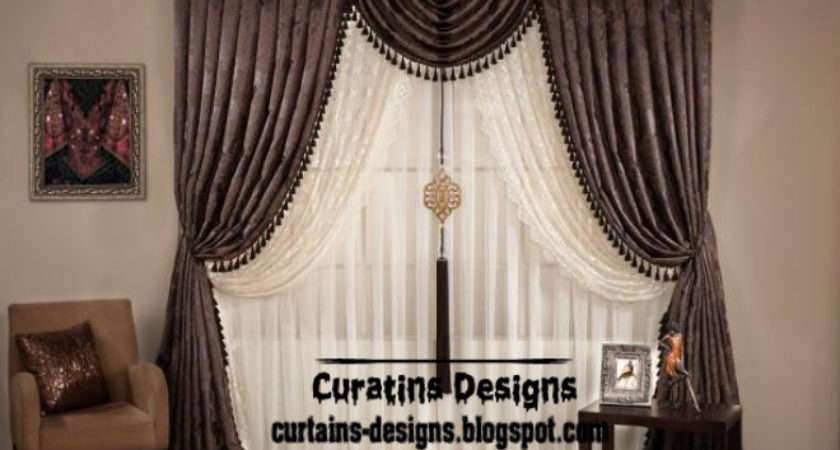 Curtain Design Brown Embossed Style Unique Door Curtains