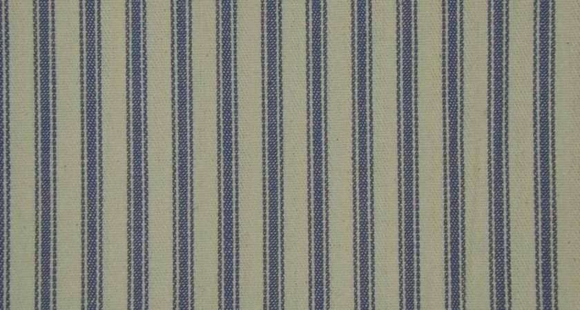 Curtain Fabric Upholstery Extra Wide Ticking Blue Cream