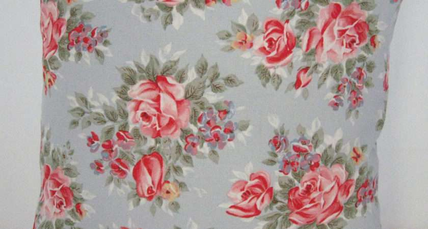 Cushion Cover Cath Kidston Fabric Roses Blue Red