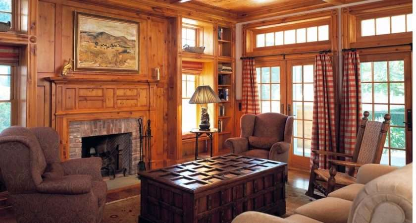 Custom Knotty Pine Paneling Mantel Room Culin