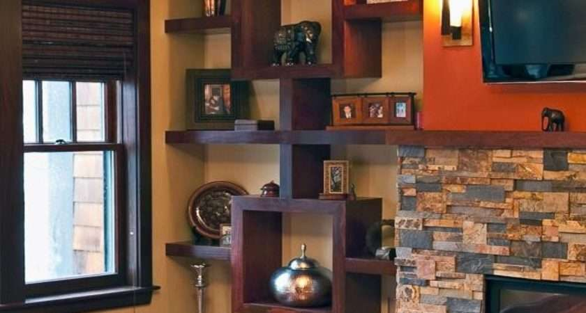 Custom Made Built Shelving Unit Stained Cherry