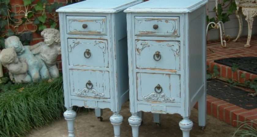 Custom Order Pair Shabby Chic Nightstands Bedside Tables
