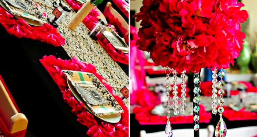Damask Black White Red Tablescape Wedding Valentines Ideas