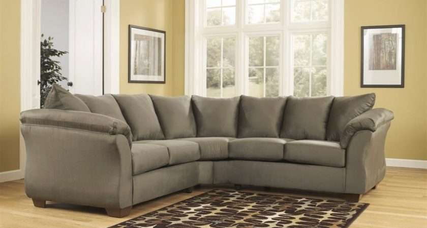 Darcy Sage Green Contemporary Plush Pillow Sectional Sofa