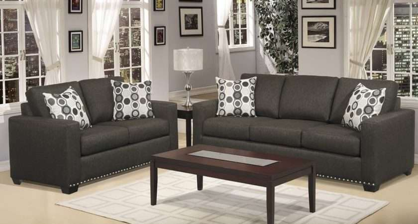 Dark Gray Couch Hills Collection Pcs Living Room Sofa Loveseat