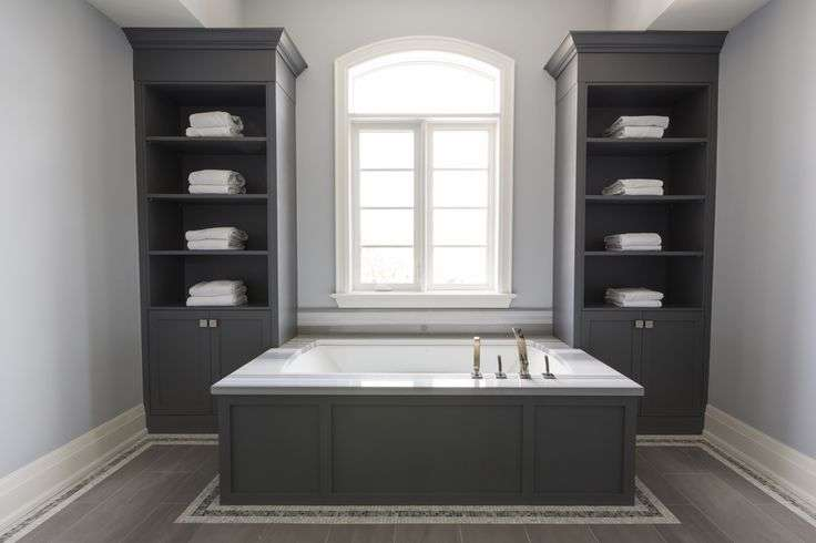 Dark Gray Wainscoted Tub Flanked Built Ins Bathroom Shelves