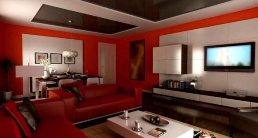 Design Living Room Paint Colors Ideas Modern Red White