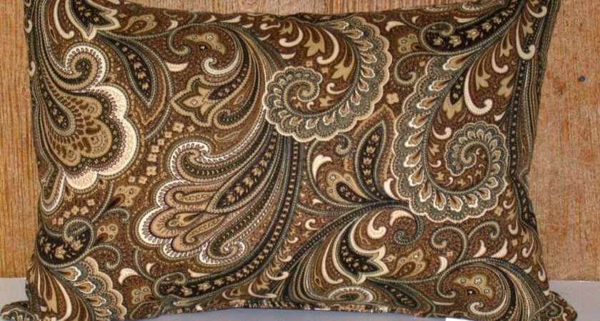 Details Outdoor Patio Pillow Paisley Black Brown White