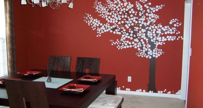 Dining Room Red Small Tree Sticker Wall Decor