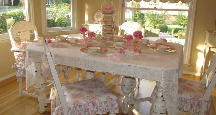 Dining Table Shabby Chic White Color Pink Floral