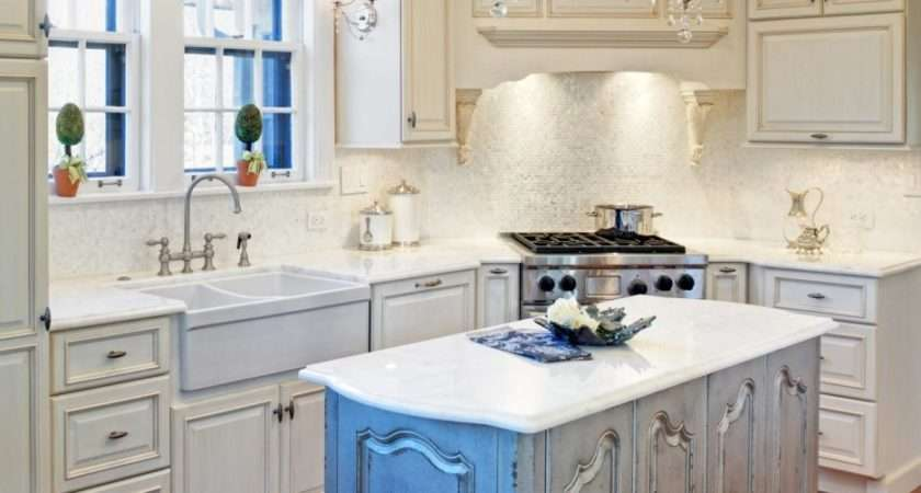 Distressed White Kitchen Cabinets Mixed Glass Chandeliers