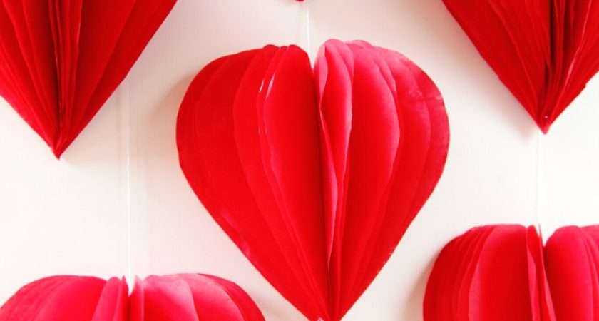 Diy Valentine Day Tissue Paper Heart Decorations