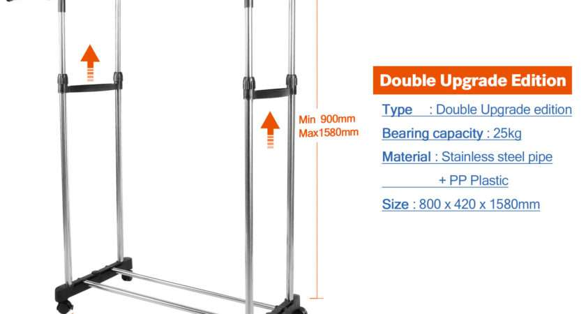 Double Clothes Coat Hanging Rail Stainless Metal Rack Storage Stand