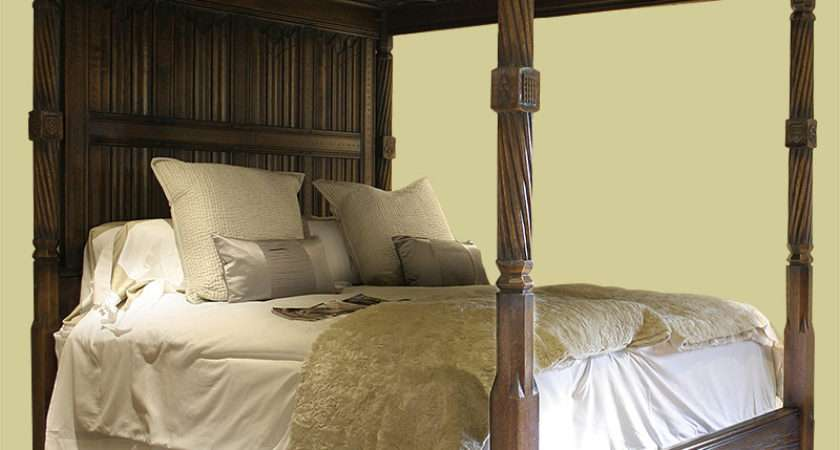 Early Tudor Style Hand Carved Solid Oak Four Poster Bed