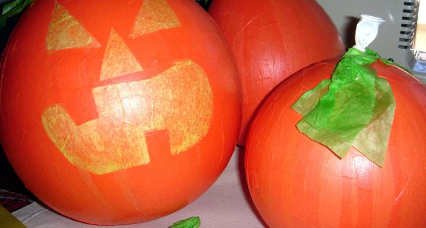 Easy Halloween Crafts Decorations Make Paper Mache Pumpkins Fun