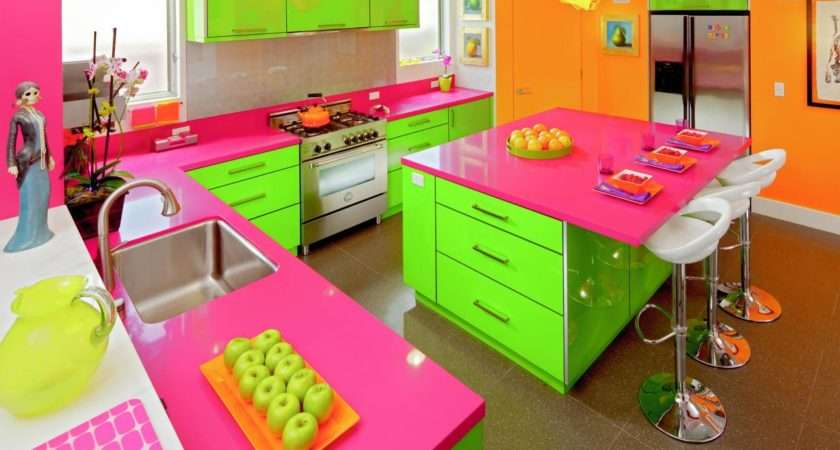 Eclectic Neon Pink Green Kitchen Diner Style Stools