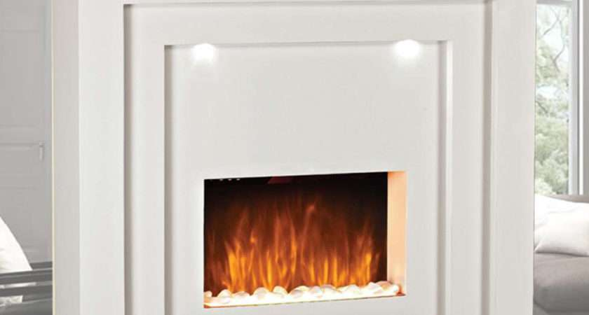 Electric Fire Fireplace Led Lights Standing White