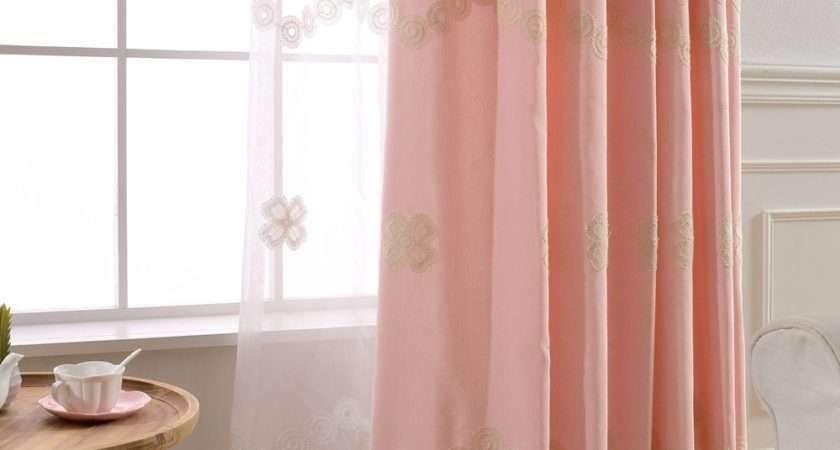 Embroidered Voile Curtains Children Pink Floral