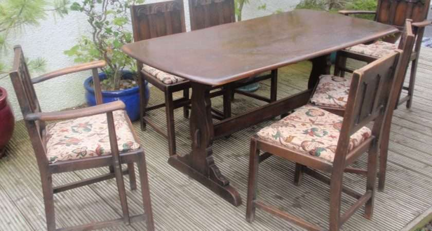 Ercol Vintage Elm Wood Refectory Dining Table