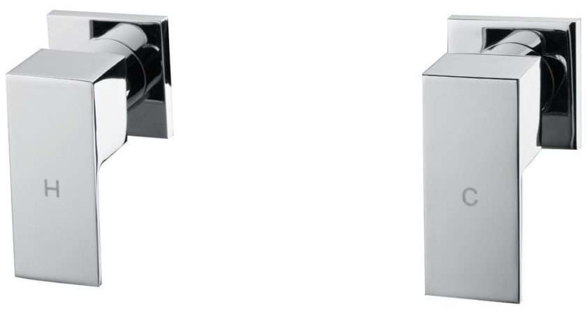 Ettore Square Polished Chrome Hot Cold Wall Top