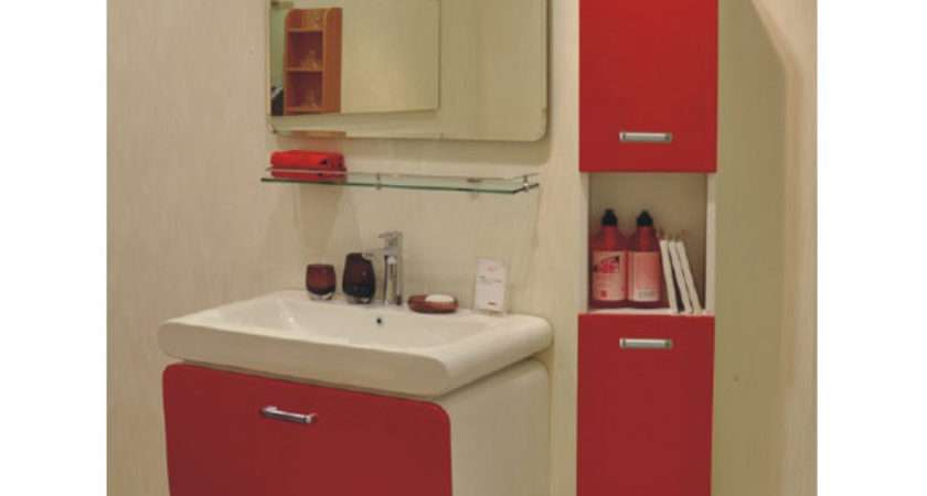 Euro Quality Rotating Mirror Red Lacquer Bathroom Cabinet