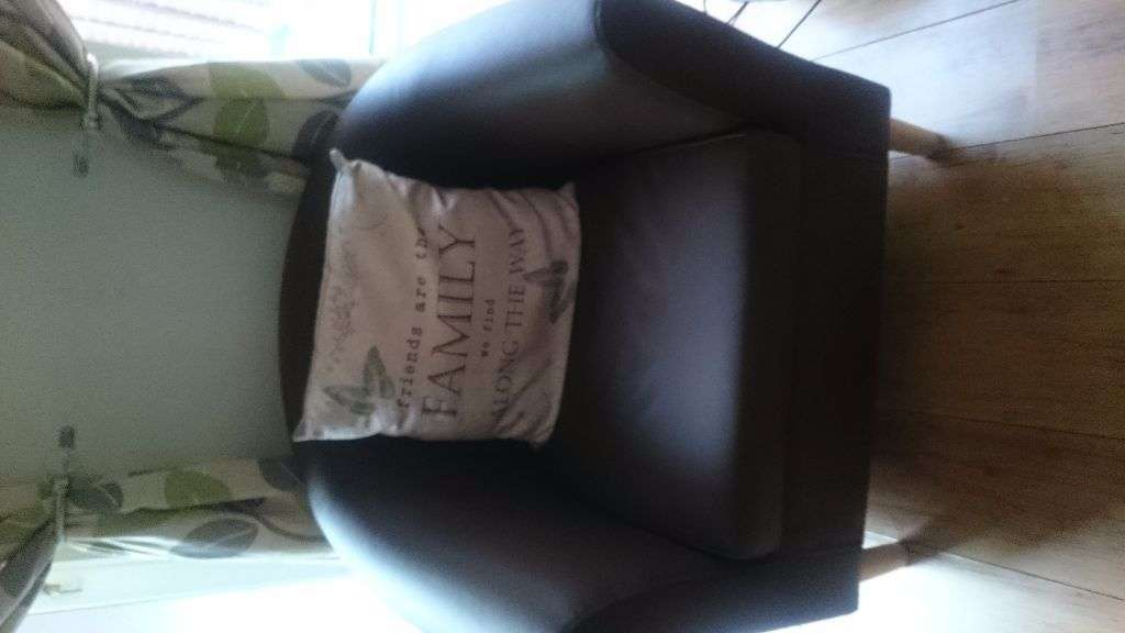 Excellent Condition Brown Fux Leather Tub Chair Gloucester