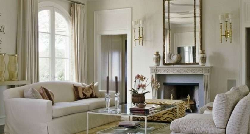 Exciting Wall Mirror Brass Frame Above Fireplace Faced Glass Top