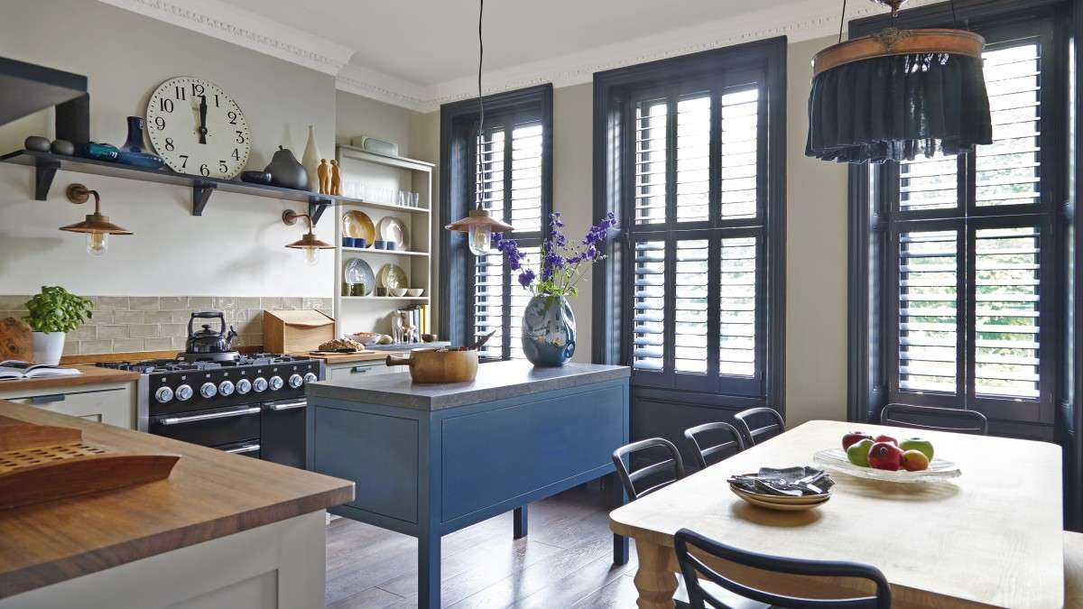 Explore Hand Crafted Blue Accented Kitchen Room
