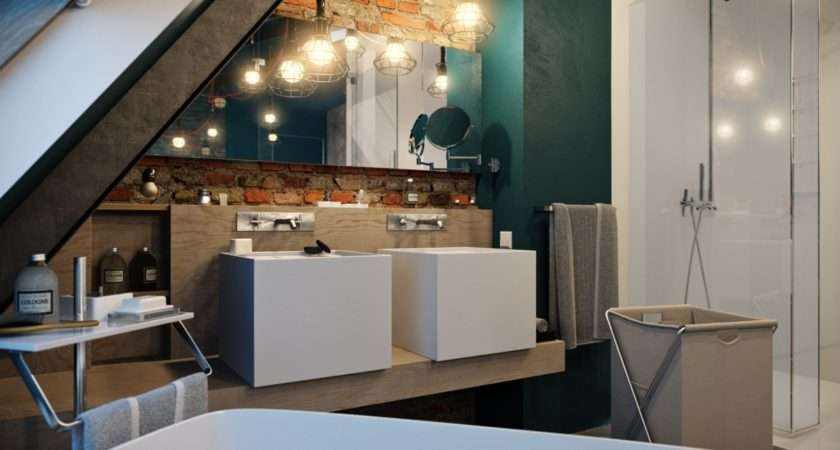 Exposed Brick Modern Bathroom Subtle But Extremely