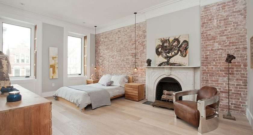 Exposed Brick Walls Classic Fireplace Inside Scandinavian