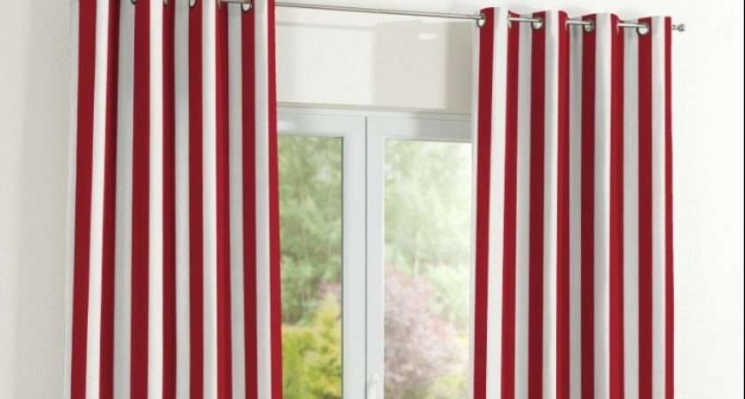 Eyelet Curtains Red White Striped Absolute Home