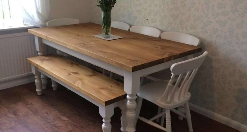 Farmhouse Table Rustic Plank Top Ely