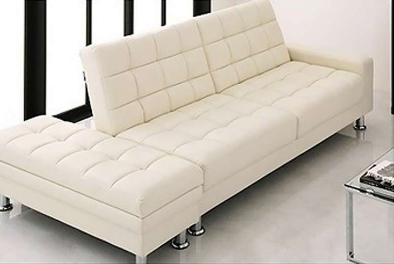 Faux Leather Sofa Bed Matching Ottoman Storage Unit
