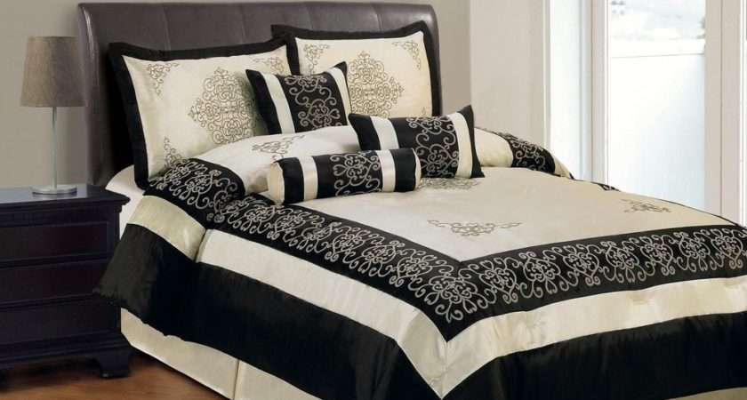 Faux Silk Bedding Embroidered Beige Black King