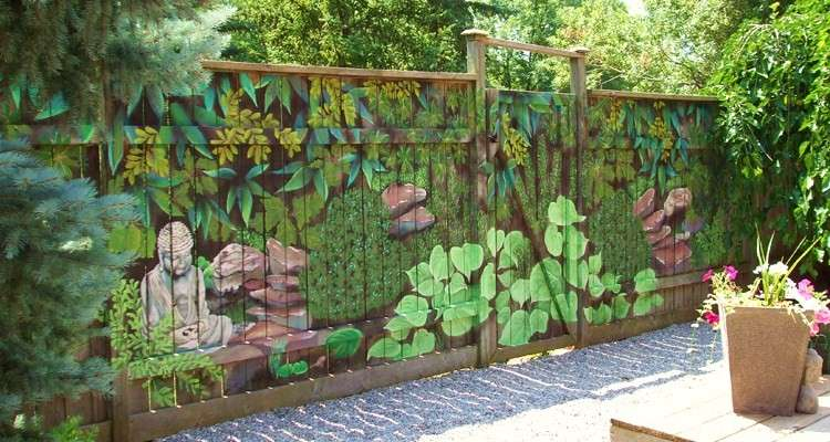 Fence Mural Sart Diy Home Decorating Garden Decor Great Ideas